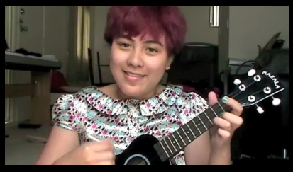 My sister and her ukulele and her red velvet cupcake appreciation song