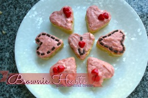 Brownie Hearts with Almond Cream
